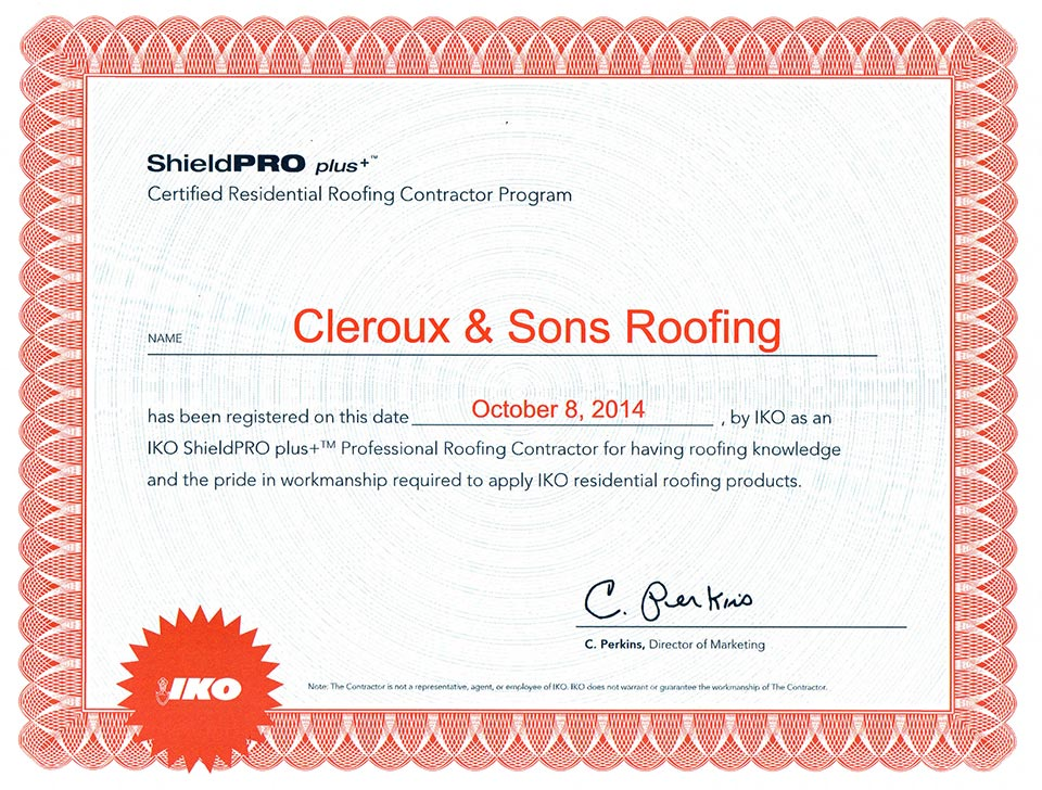 certified residential roofing contractor program
